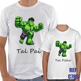 42420ea1fd6564 Camisa Adulto + Infantil Hulk Tal Pai Tal Filho Herói