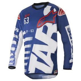 Camisa Alpinestars Racer Braap 18 Azul / Branco Tamanho Gg