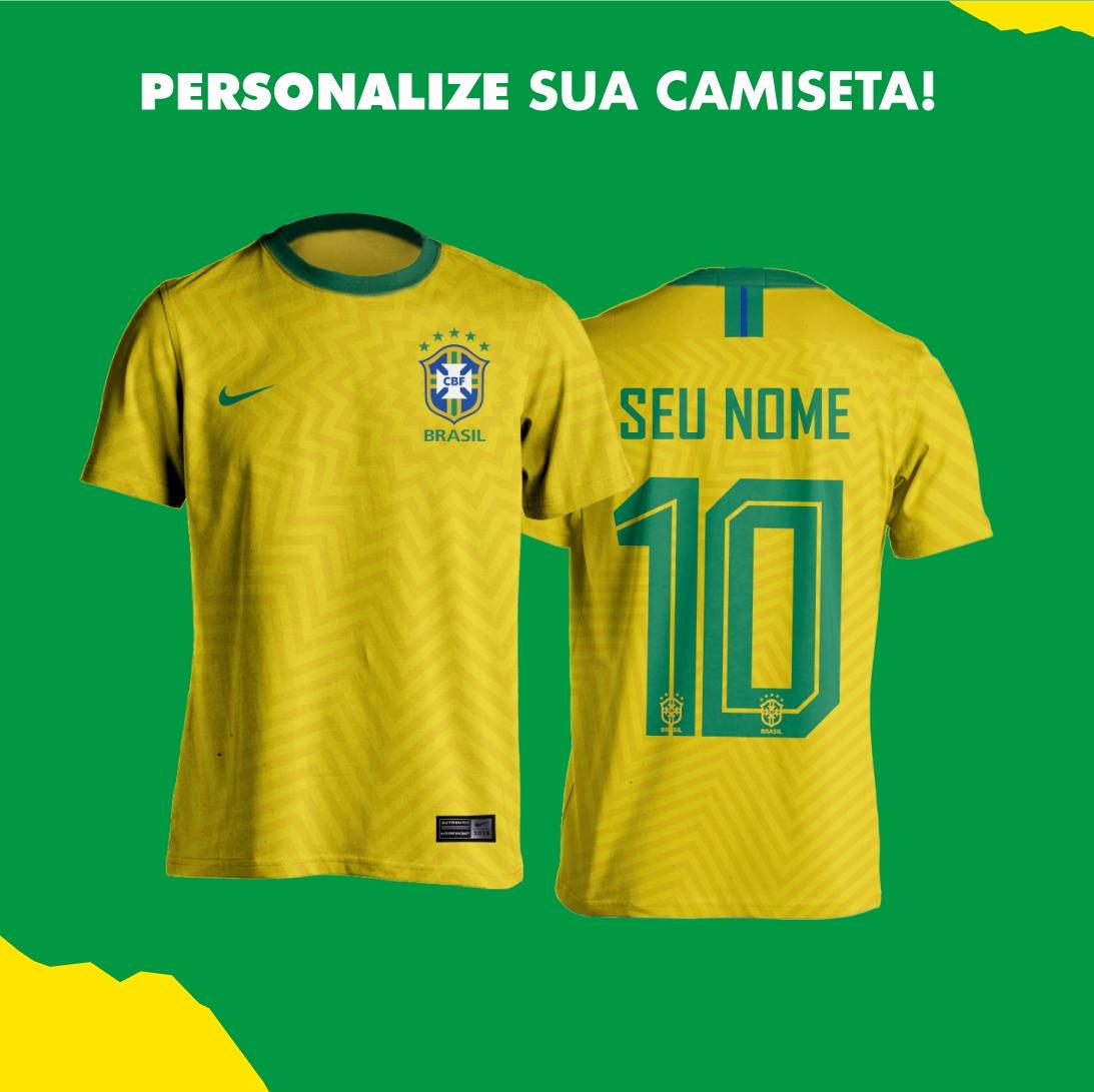 5278d61e08 camisa amarela seleção brasileira personalizada nome número. Carregando  zoom.