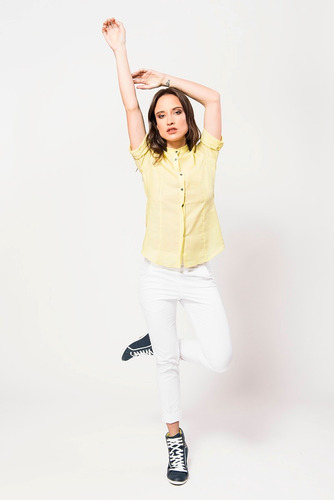 camisa amarilla de voile de algodón giacca