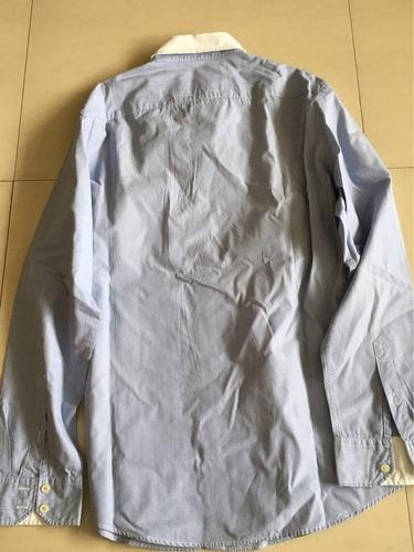 camisa american eagle - talle l - celeste con cuello blanco