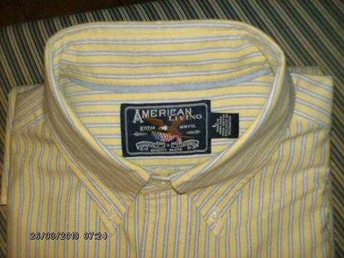 camisa american living, manga larga, talla l, comonueva