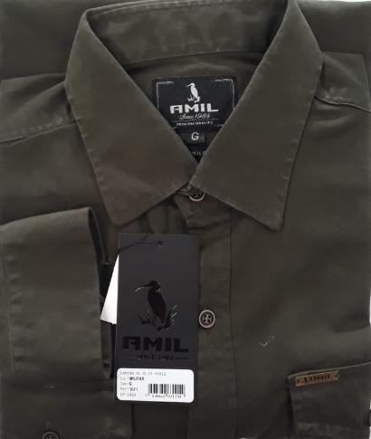 1e6ad2e103 Camisa Amil Slim Paris Manga Longa Estilo Militar 2 Bolsos - R  120 ...