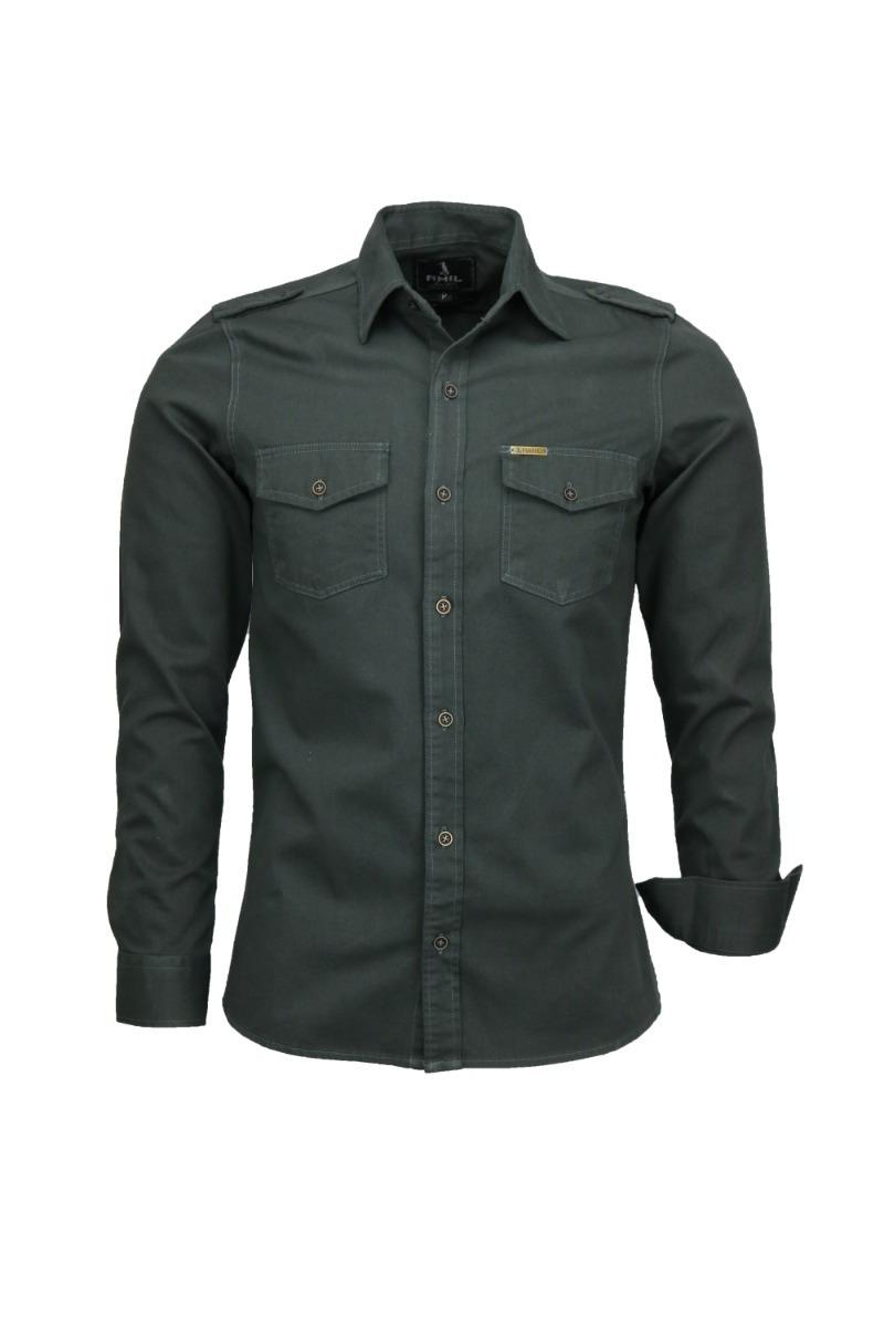 fc00b4b994 Camisa Amil Slim Paris Manga Longa Estilo Militar 2 Bolsos - R  93 ...