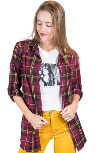 camisa amplia escocesa manga larga mujer otoño invierno
