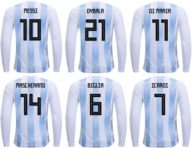0d5d6114d2 Camisa Argentina Uniforme 1 Manga Longa 18 19 Frete Grátis - R  129 ...
