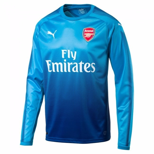 ca0d56093f Camisa Arsenal Azul Goleiro Manga Longa 17-18 Importada - R  110