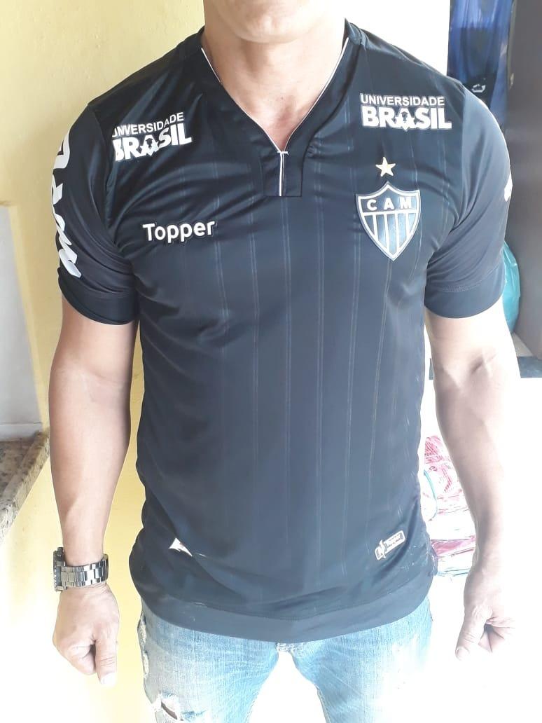 5fa1787fbb Camisa Atletico Mg Uniforme Preto 2019 Topper Mod  Torcedor - R  88 .