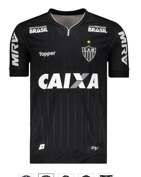 5bda3ac18f Camisa Atletico Mg Uniforme Preto 2019 Topper Mod  Torcedor - R  88 ...