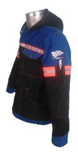 camisa azul con capucha y bolsas frontales para soldador
