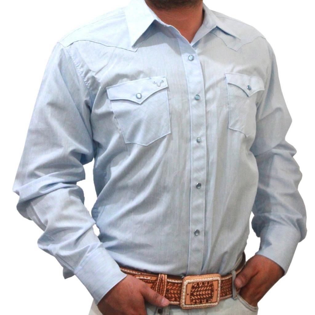 fa90e191b9 camisa azul de manga larga ajustada para hombre rodeo carte. Cargando zoom.