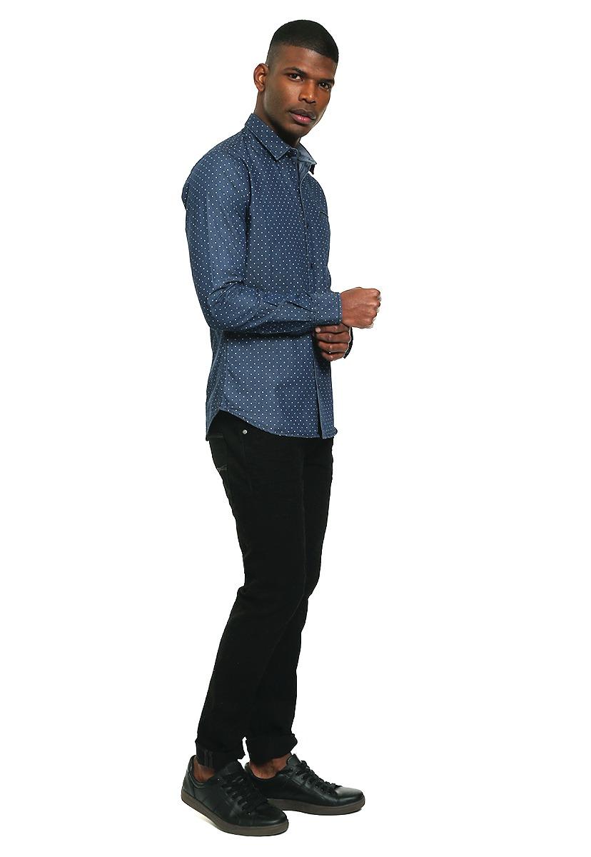 576a61a397c95 Camisa Azul Marino Con Puntos - Rewind - 975524 -   665.00 en ...