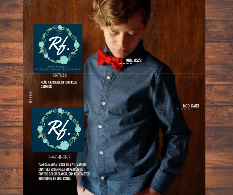 cc108f0ee9 Camisa Azul Marino En Tela Estampada Con Blanco - $ 420.00 en ...