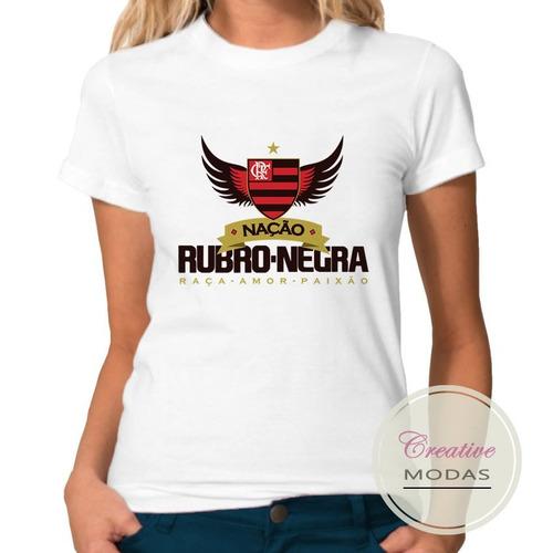 camisa baby look flamengo nação rubro-negra