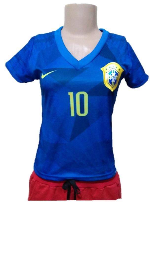 camisa baby look seleção brasileira feminina brasil azul. Carregando zoom. f01baed7a6b81