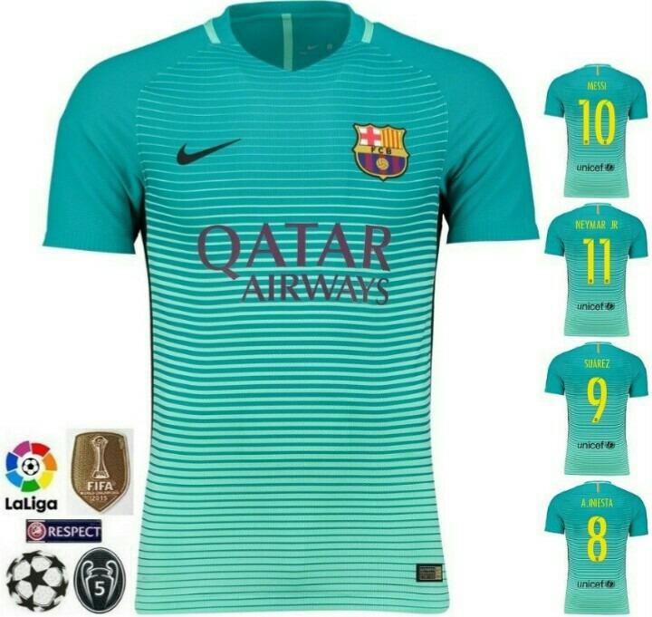 2a8f01d08a65e Camisa Barcelona 2016 2017 Uniforme 3 Verde - R  85