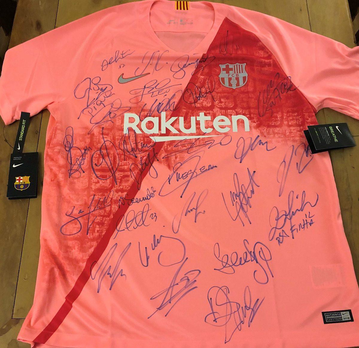 2f3062ab0ef28 camisa barcelona 2018 19 autografada todo elenco. Carregando zoom.