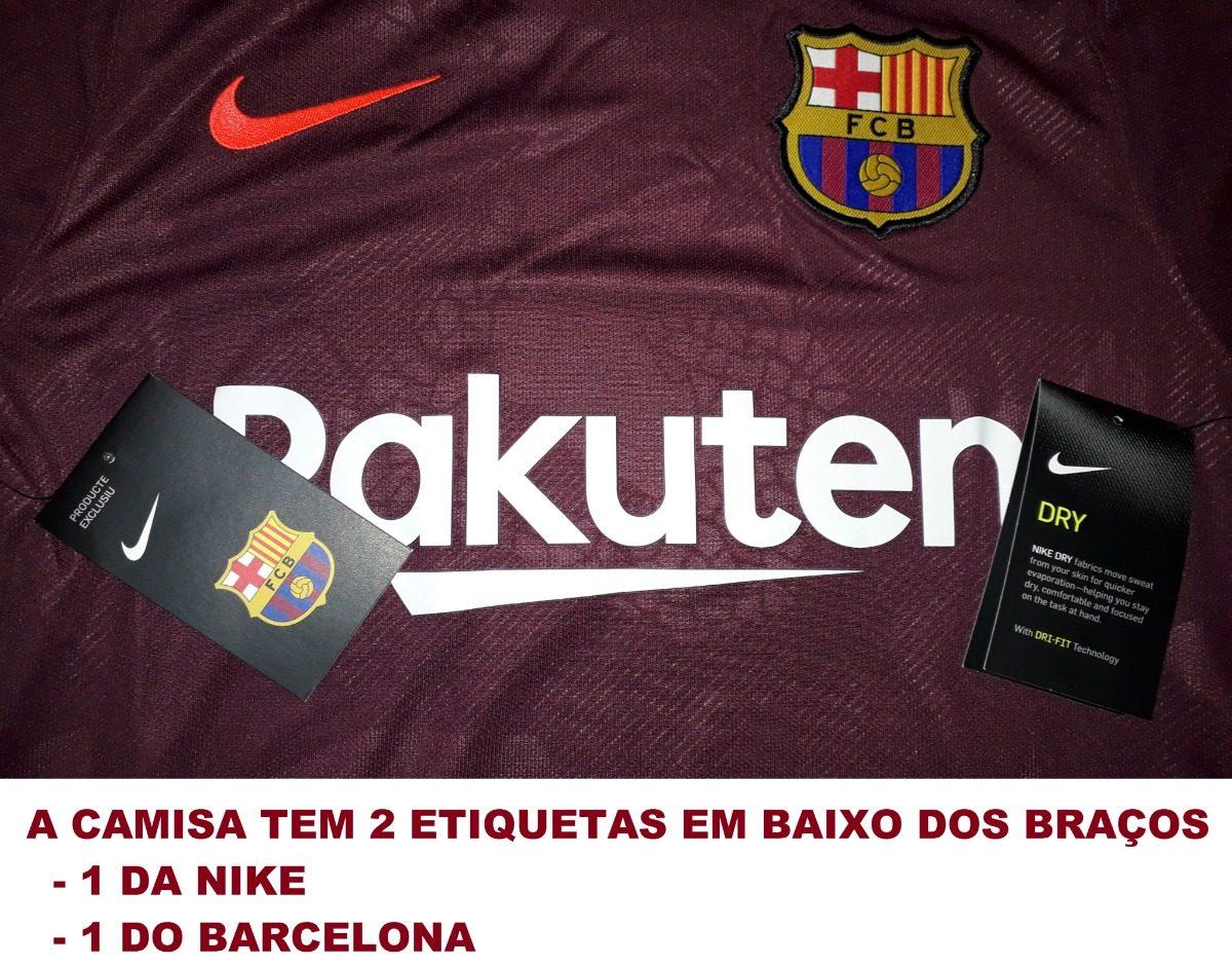 8e53105343 Camisa Barcelona Bordô 2017   2018 Nike Original - 28 - R  149