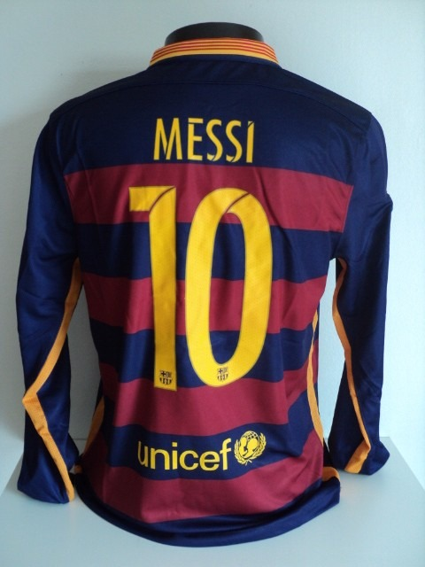 b0c8f4a7a7 Camisa Barcelona Home 15-16 Manga Longa Messi 10 Champions - R  190 ...