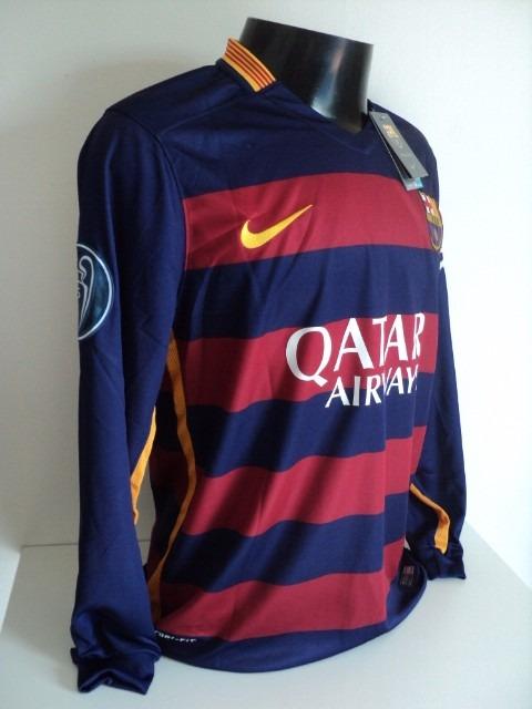 72899db978f35 Camisa Barcelona Home 15-16 Manga Longa Suarez 9 Champions - R  180 ...