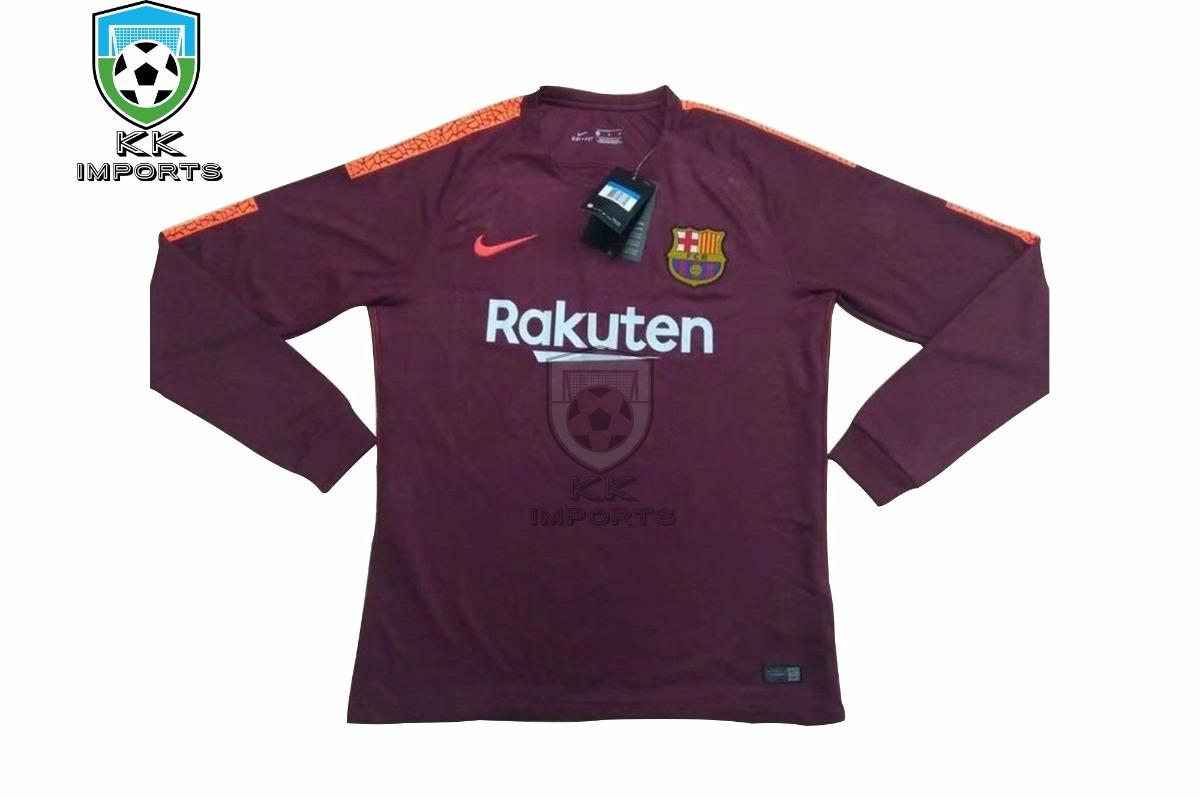 Camisa Barcelona Manga Longa 17 18 Uniforme 3 Sob Encomenda - R  190 ... 938eaeaa9411c