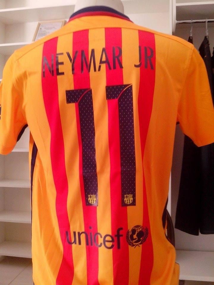 camisa barcelona neymar amarela nº 11 temporada 15 16. Carregando zoom. daac33ba11141