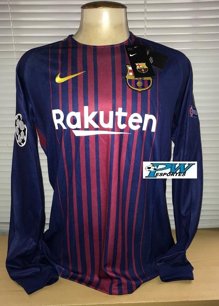 Camisa Barcelona Nike Manga Longa 2018  10 Messi - R  199 3cceaa4df728c