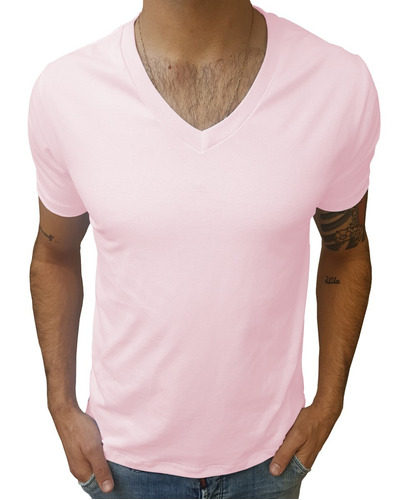 camisa básica 100% algodão 30.1 gola v média manga curta