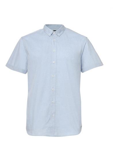 camisa básica de hombre c&a manga corta