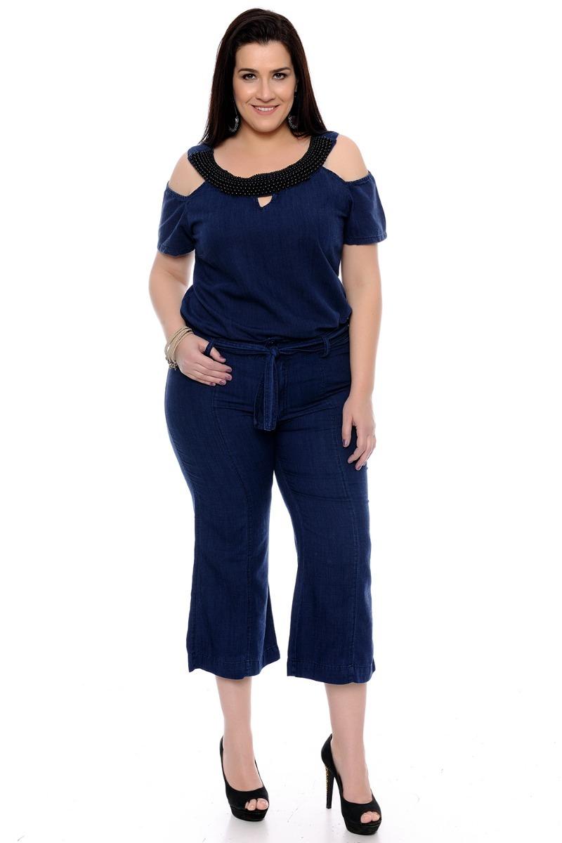 8301bd77c4 Camisa Bata Jeans Tendência De Moda Verão Plus Size - R  262