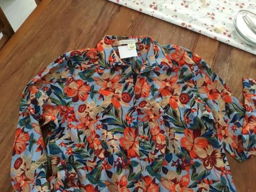 camisa  bata richards tam 5 seda estampa tenho farm
