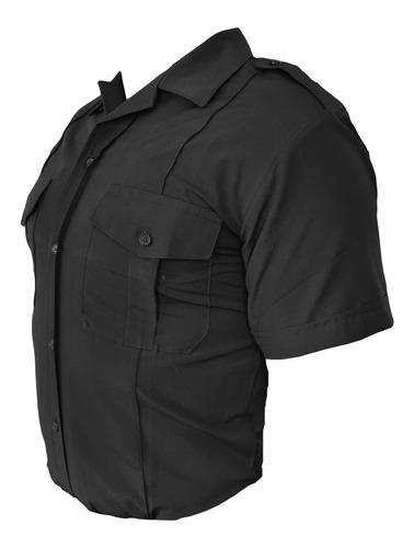 camisa batista manga corta negra uniforme policía