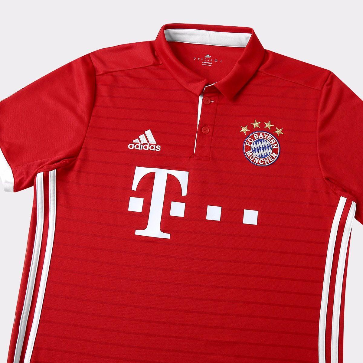 Camisa Do Bayern De Munique Vermelha Branca adidas Jogador - R  110 ... e26a285a63459