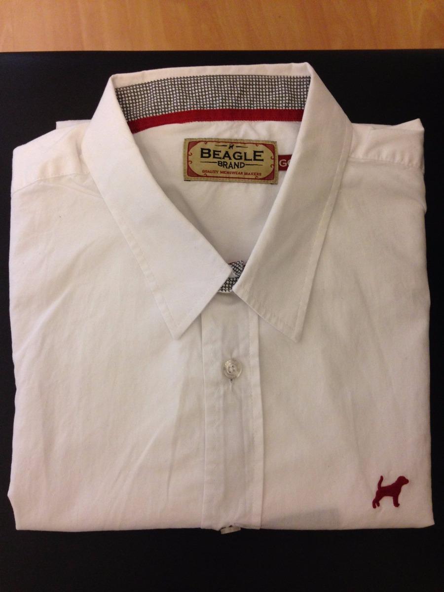 Camisa Beagle Masculina Lisa Branca Detalhe Vermelho Tam. Gg - R  99 ... 081ff0323b627