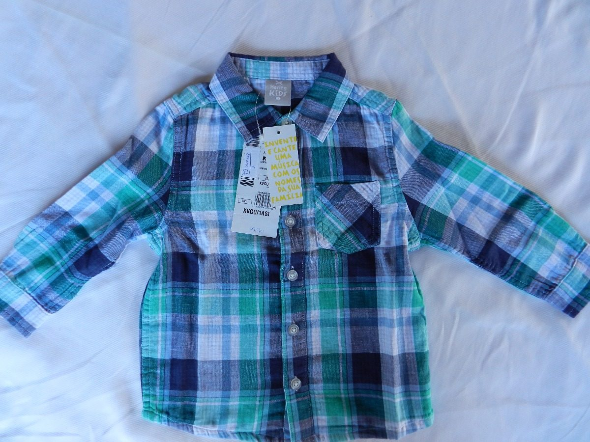camisa bebê menino em fio tinto xadrez hering kids - kvgu. Carregando zoom. 46fa39170d1