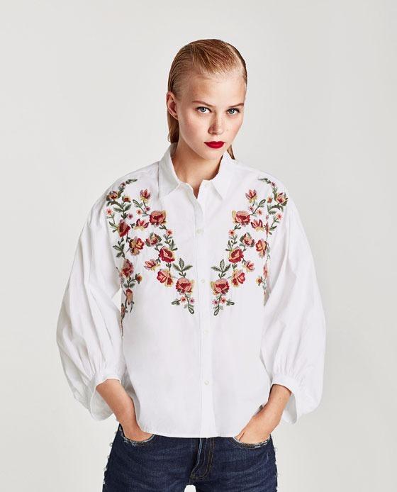 venta de tienda outlet ventas calientes guapo Camisa Blanca Bordada Flores Manga Abullonada Importada Zara