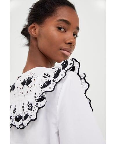 c418f4e1b Camisa En 700 Libre 1 Mujer Zara Bordada Mercado Importada 00 Blanca ...