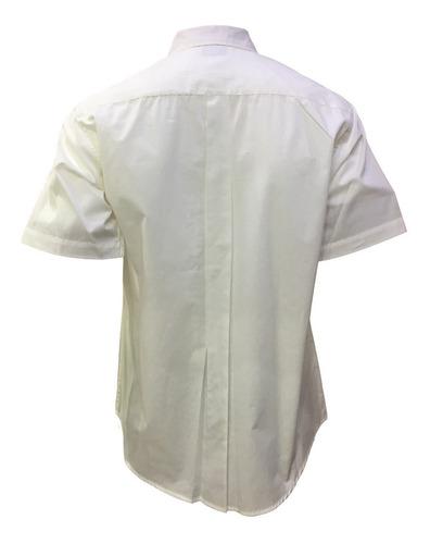 camisa blanca casual manga corta hombre oferta