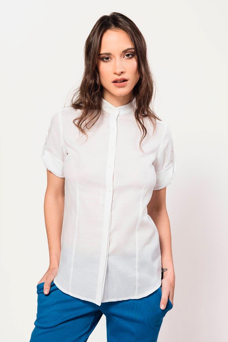 99a8820a5da6 Camisa Blanca De Volie De Algodón Manga Corta Giacca