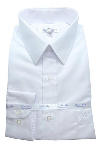 camisa blanca manga larga de vestir para hombre.