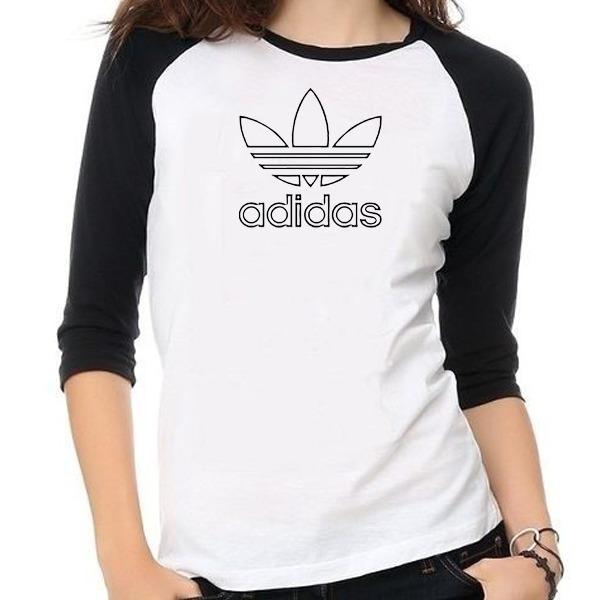 532f8b7807cb8 Camisa Blusa adidas Feminina Baby Look Raglan Personalizada - R  54 ...