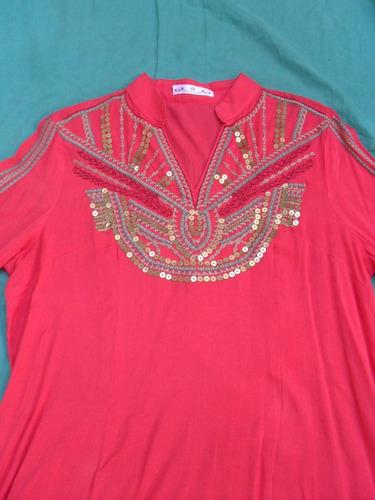 camisa blusa camisola bordada coral mujer nueva talle s