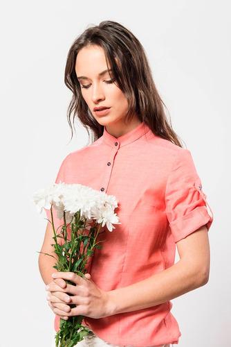 camisa blusa coral de voile de algodón giacca