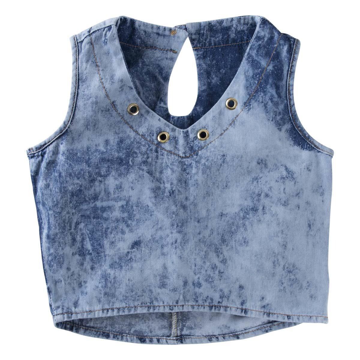 9c425031e37d camisa blusa cropped infantil jeans com ilhoses teen. Carregando zoom.
