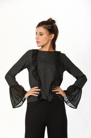 09a05b28fbce Camisa Volado Mujer Camisas Chombas Blusas - Ropa y Accesorios Negro ...