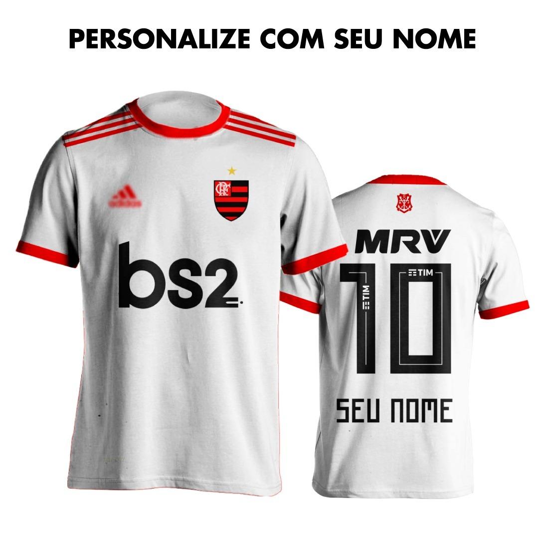 755a7e8f52 Camisa Blusa Do Flamengo Branca 2019 20 Personalizadas Nome - R  64 ...