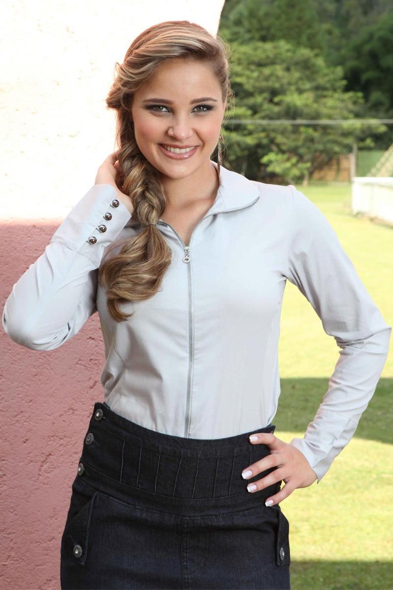 0d8cc3776f camisa blusa feminina de ziper manga longa tecido claro evan. Carregando  zoom.