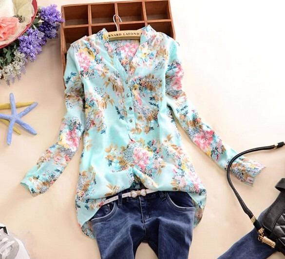 9e31c3f5a Camisa Blusa Feminina Estampada Manga Longa Com Ajuste - R  28