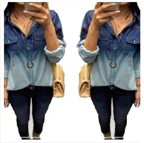 camisa  blusa feminina jeans 2 cores/ azul degrade promoção!