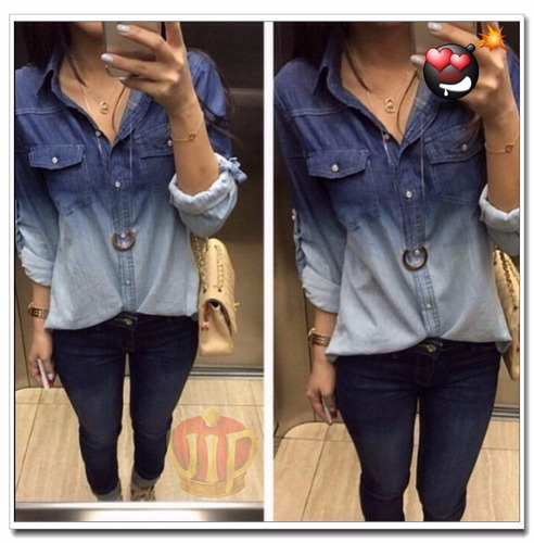 camisa blusa feminina jeans 2 cores/ degrade preço baixo!!